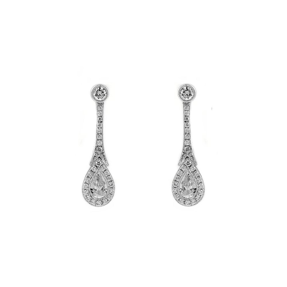 Art Deco Style Earrings Uk 18ct White Gold 76ct Diamond Art Deco Drop Earrings