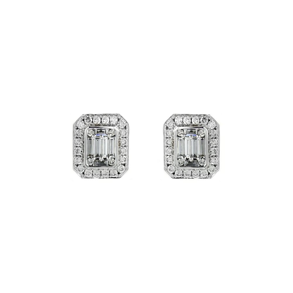 Art Deco Style Earrings Uk 18ct White Gold 1 68ct Art Deco Style Diamond Cluster Earrings