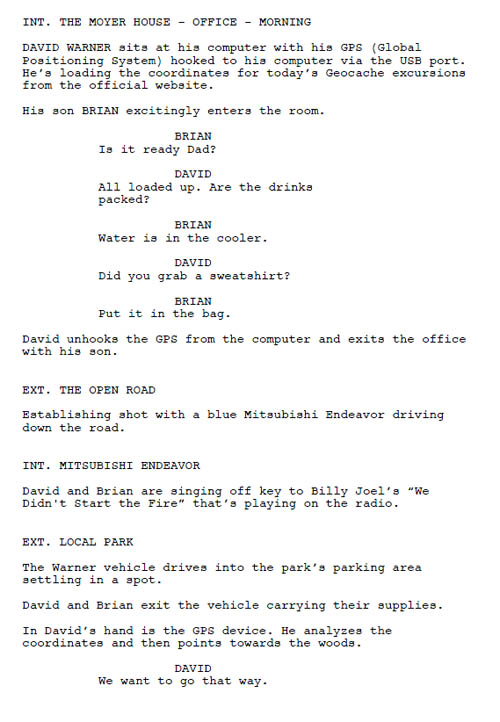 sample of script format