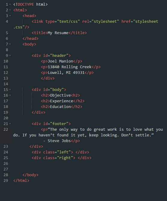 example of resume in html code
