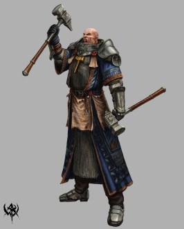 Dual-wielded warhammer
