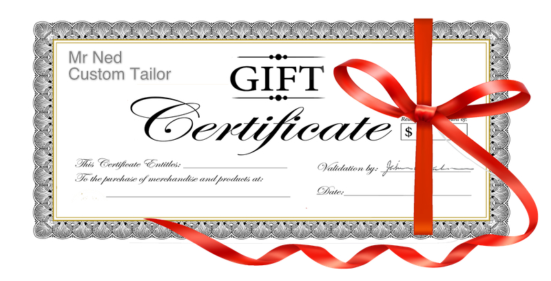 Mr Ned Custom Tailor now offers gift certificates Mr Ned