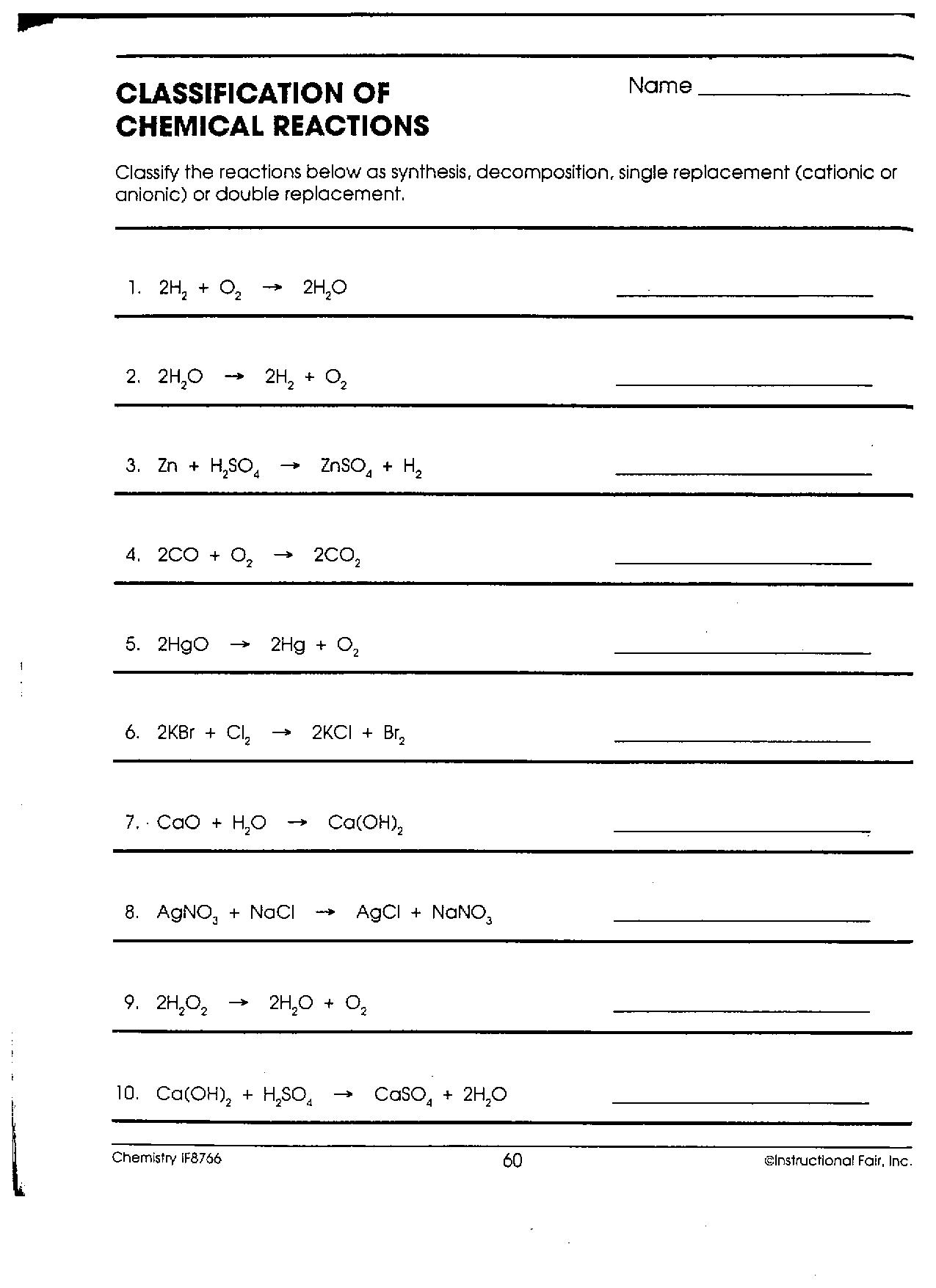 overview chemical reactions worksheet - bagru.info