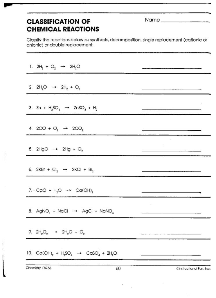 Printables Classifying Chemical Reactions Worksheet printables classifying chemical reactions worksheet answers answers