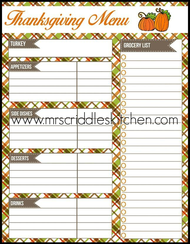 FREE THANKSGIVING PRINTABLES - Mrs Criddles Kitchen