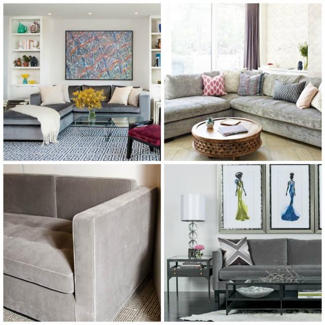 light gray velvet sectionals