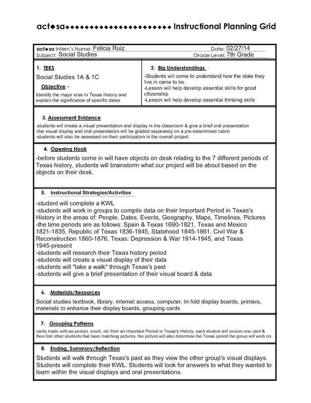IPG Lesson Plan - Mrs Ruiz\u0027s 7th Grade Social Studies Class - social studies lesson plan template