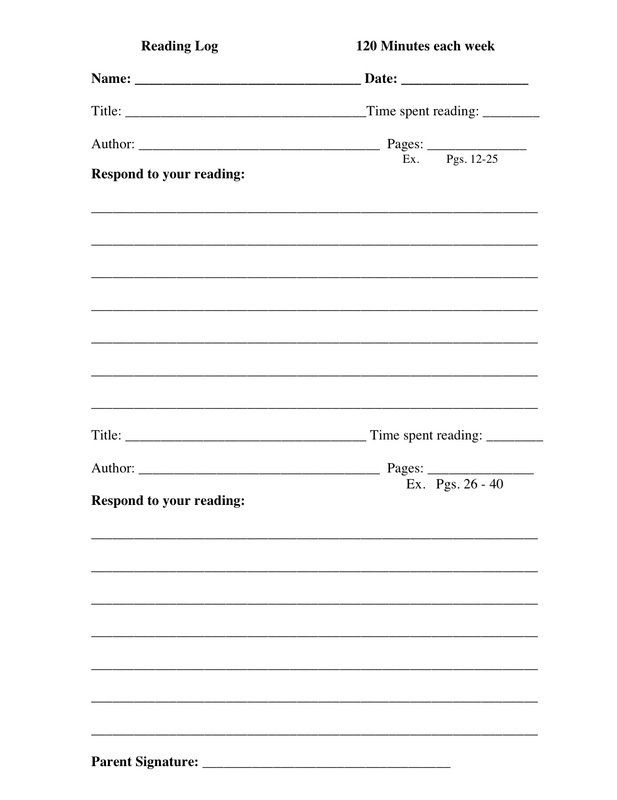 Reading Log Template - Mrs Ward\u0027s Classroom