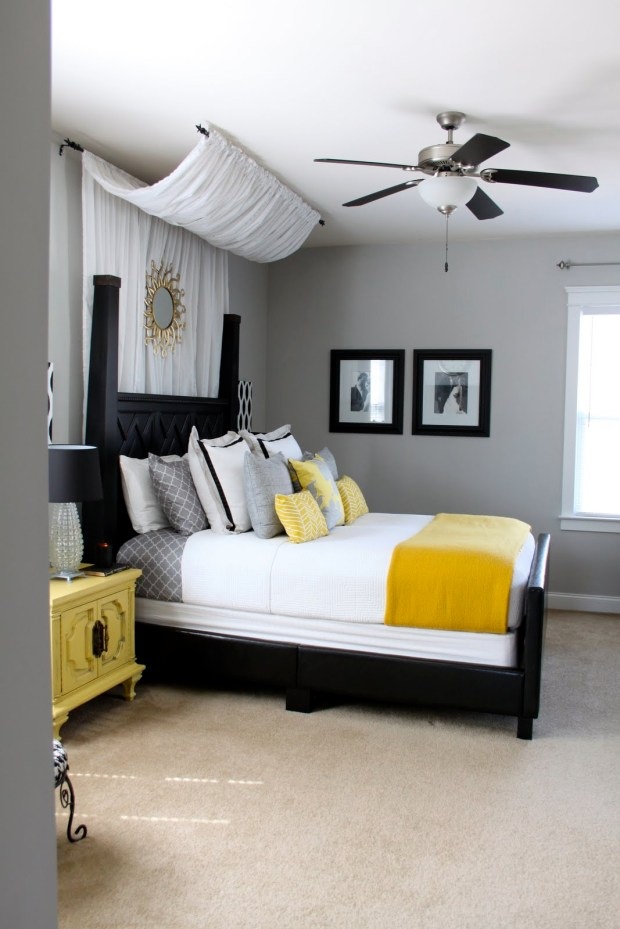 diy canopy master bedroom gray and yellow