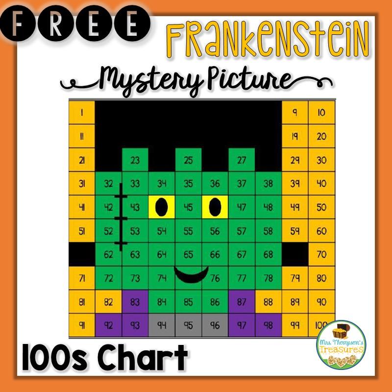 Free Frankenstein Hundreds Chart Mystery Picture - Mrs Thompson\u0027s