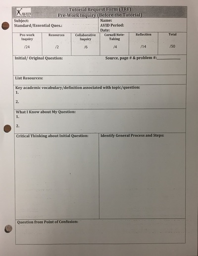 AVID I - MRS VIVOu0027s CLASSES - avid tutorial request form