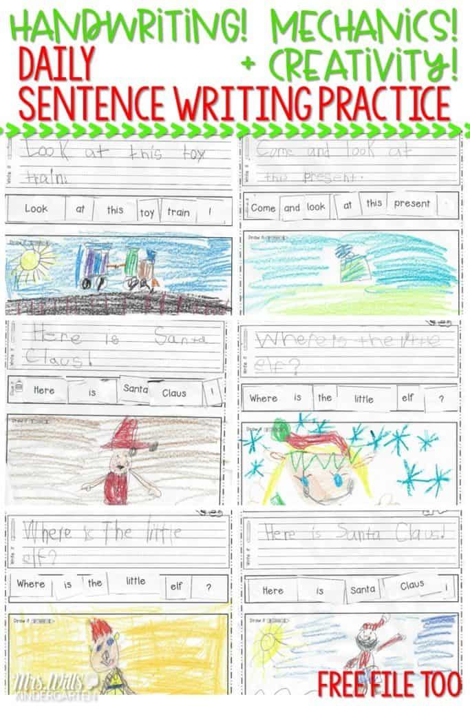 kindergarten handwriting practice and sentence writing