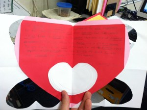 This is from a shy boy with terrible handwriting, but there are 5 hearts nestled together. What a nice surprise.