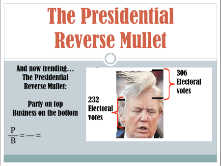 "Trump's hair is windswept up and off his head. The picture asks for his mullet ratio in terms of ""electoral votes."""