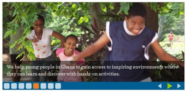The Mmofra Foundation uses a slider to showcase their mission and programs