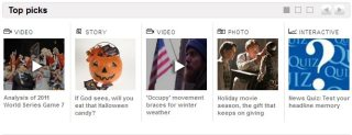 Five stories are featured in this slider on the home page of USAToday.com