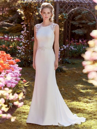 Ada (8RC441) Simple Crepe Wedding Dress by Rebecca Ingram