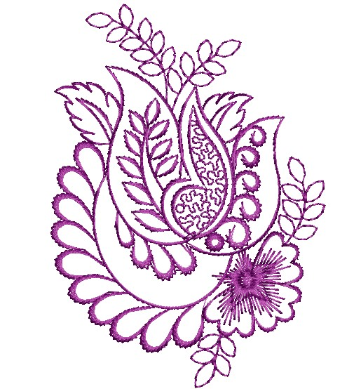 Purple work Floral Decor Designs - EmbroideryShristi