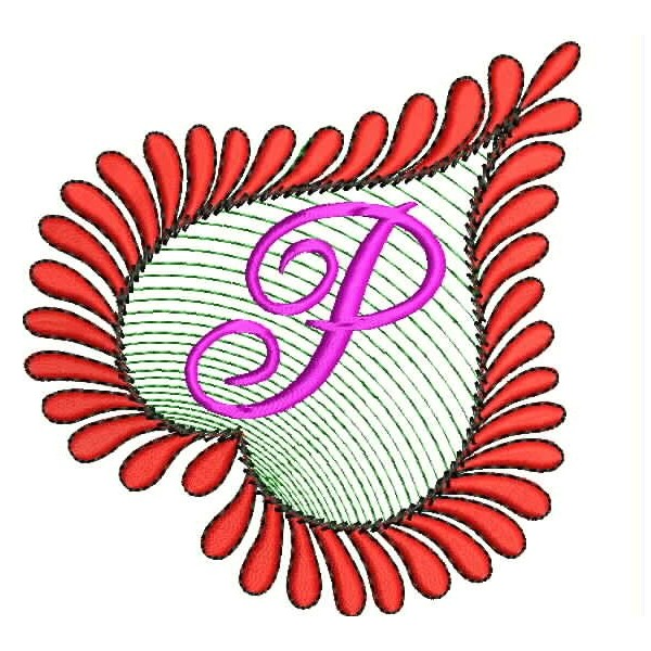 Heart Alphabets P Embroidery Design - P & L Form