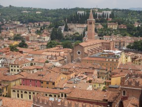View over the terracotta rooftops from Piazza del Erbe, the old vegetable market.