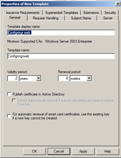 Sccm 2012 and pki marius sandbu properties of new template dialog box on the general tab enter a template name to generate the web certificates that will be used on configuration manager yadclub Gallery