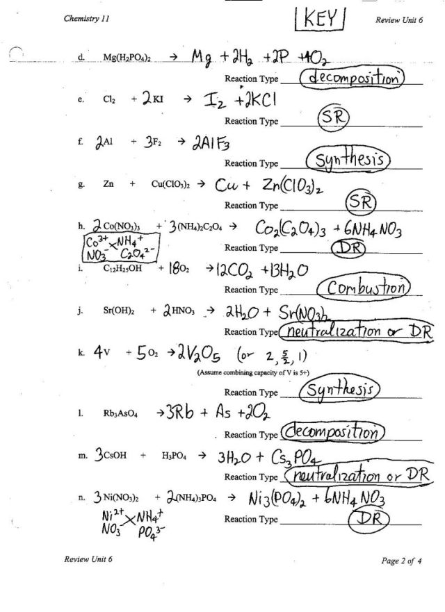 Collection of Chemical Reactions Worksheet Answers - Sharebrowse