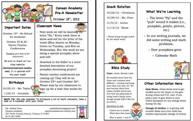Weekly Newsletter - ms Chen\u0027s Pre-K Classroom