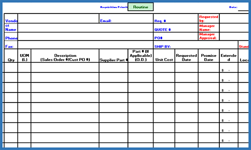 Purchase Requisition Template Excel - mandegarinfo