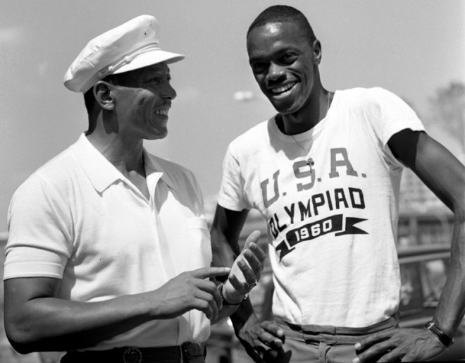 Ralph Boston, right, with Jesse Owens after he surpassed the great man's world long jump record.