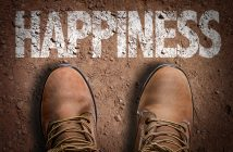 Top View of Boot on the trail with the text: Happiness