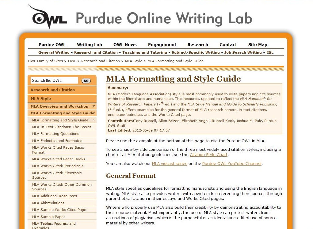 Owl MLA Citation Guide - Ms Andres\u0027 Class