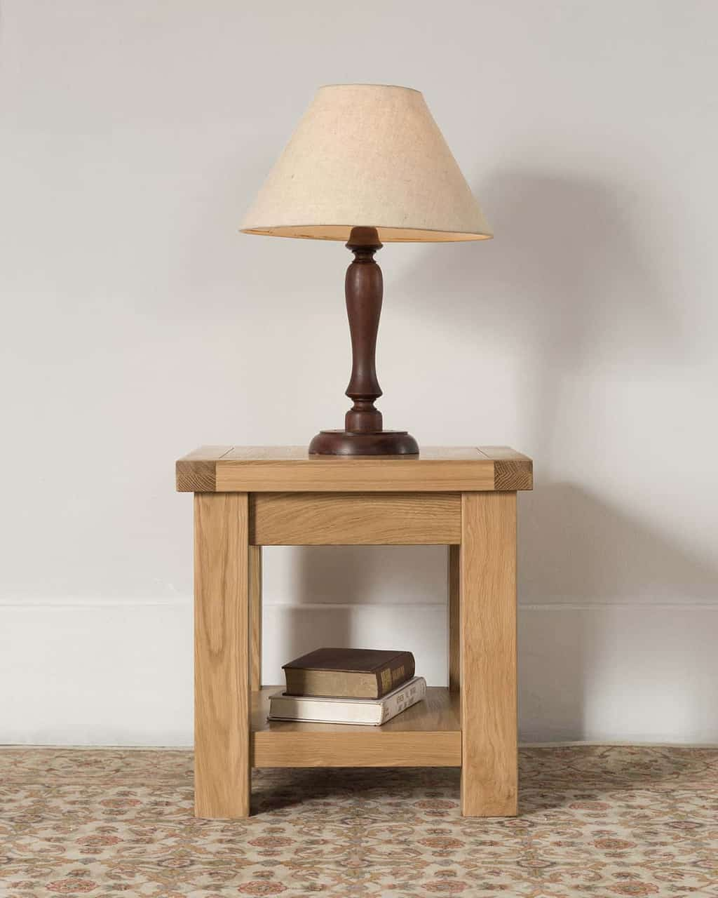 Real Wood Lamps Valencia Solid Wood Chunky Oak Small Square Coffee Lamp