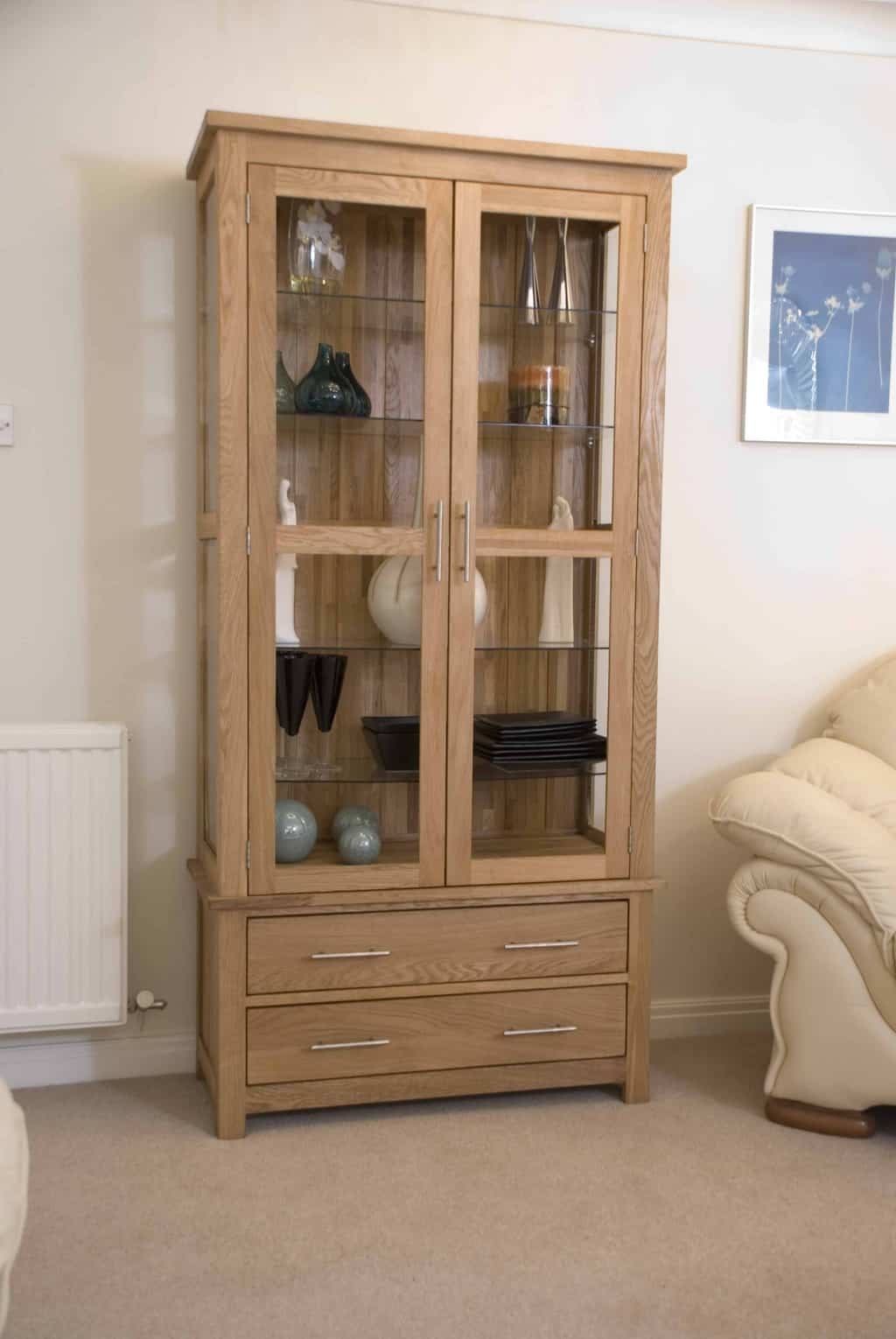 Glass Display Cabinet Sydney Opus Contemporary Oak Large Glass Display Cabinet Msl