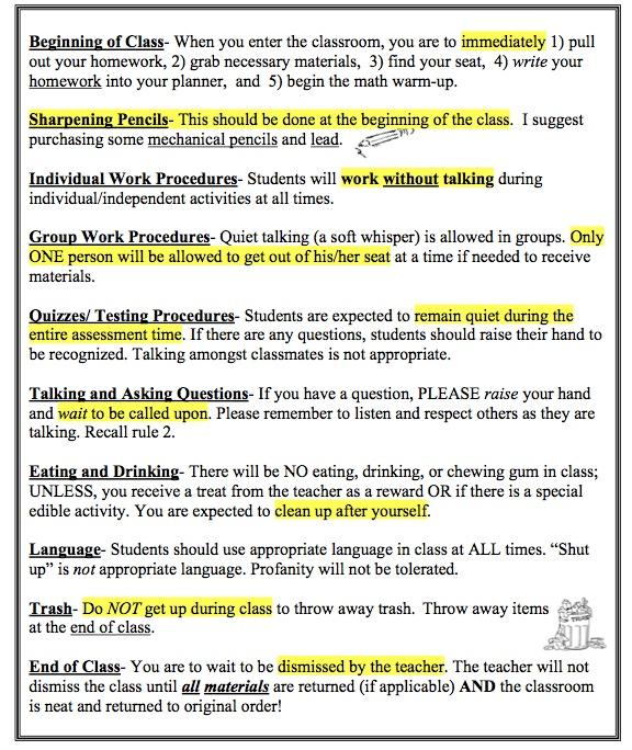 Classroom Expectations - Ms L Wright\u0027s ClassroomMathematically