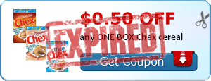$0.50 off any ONE BOX Chex cereal