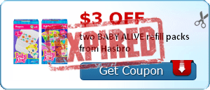 $3.00 off two BABY ALIVE refill packs from Hasbro