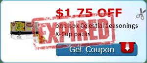 $1.75 off one box Celestial Seasonings K-Cup packs