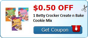 $0.50 off 1 Betty Crocker Create n Bake Cookie Mix
