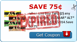 Save 75¢ when you buy TWO (2) any flavor/variety LÄRABAR® ALT® bars..Expires 2/28/2014.Save $0.75.