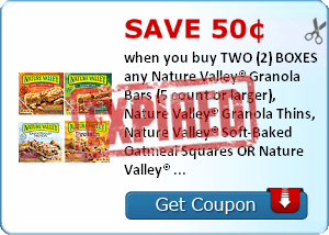 Save 50¢ when you buy TWO (2) BOXES any Nature Valley® Granola Bars (5 count or larger), Nature Valley® Granola Thins, Nature Valley® Soft-Baked Oatmeal Squares OR Nature Valley® Breakfast Biscuits..Expires 2/28/2014.Save $0.50.
