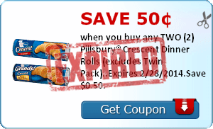 Save 50¢ when you buy any TWO (2) Pillsbury® Crescent Dinner Rolls (excludes Twin Pack)..Expires 2/28/2014.Save $0.50.