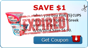 Save $1.00 when you buy FIVE (5) CUPS any variety Yoplait® Greek yogurt..Expires 2/28/2014.Save $1.00.