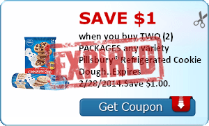 Save $1.00 when you buy TWO (2) PACKAGES any variety Pillsbury® Refrigerated Cookie Dough..Expires 2/28/2014.Save $1.00.