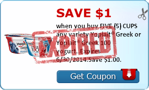 Save $1.00 when you buy FIVE (5) CUPS any variety Yoplait® Greek or Yoplait® Greek 100 yogurt..Expires 6/30/2014.Save $1.00.