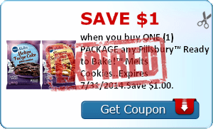 Save $1.00 when you buy ONE (1) PACKAGE any Pillsbury™ Ready to Bake!™ Melts Cookies..Expires 7/31/2014.Save $1.00.