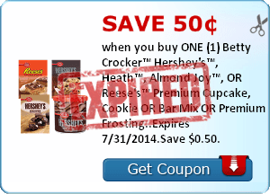 Save 50¢ when you buy ONE (1) Betty Crocker™ Hershey's™, Heath™, Almond Joy™, OR Reese's™ Premium Cupcake, Cookie OR Bar Mix OR Premium Frosting..Expires 7/31/2014.Save $0.50.