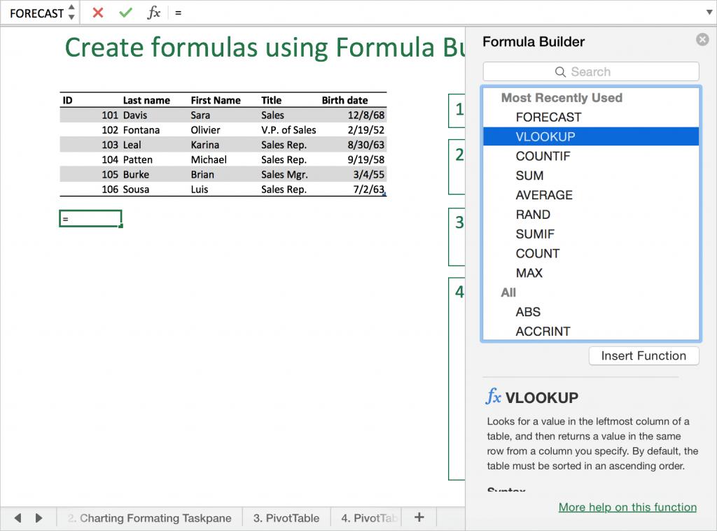 Построитель формул в Excel для Mac