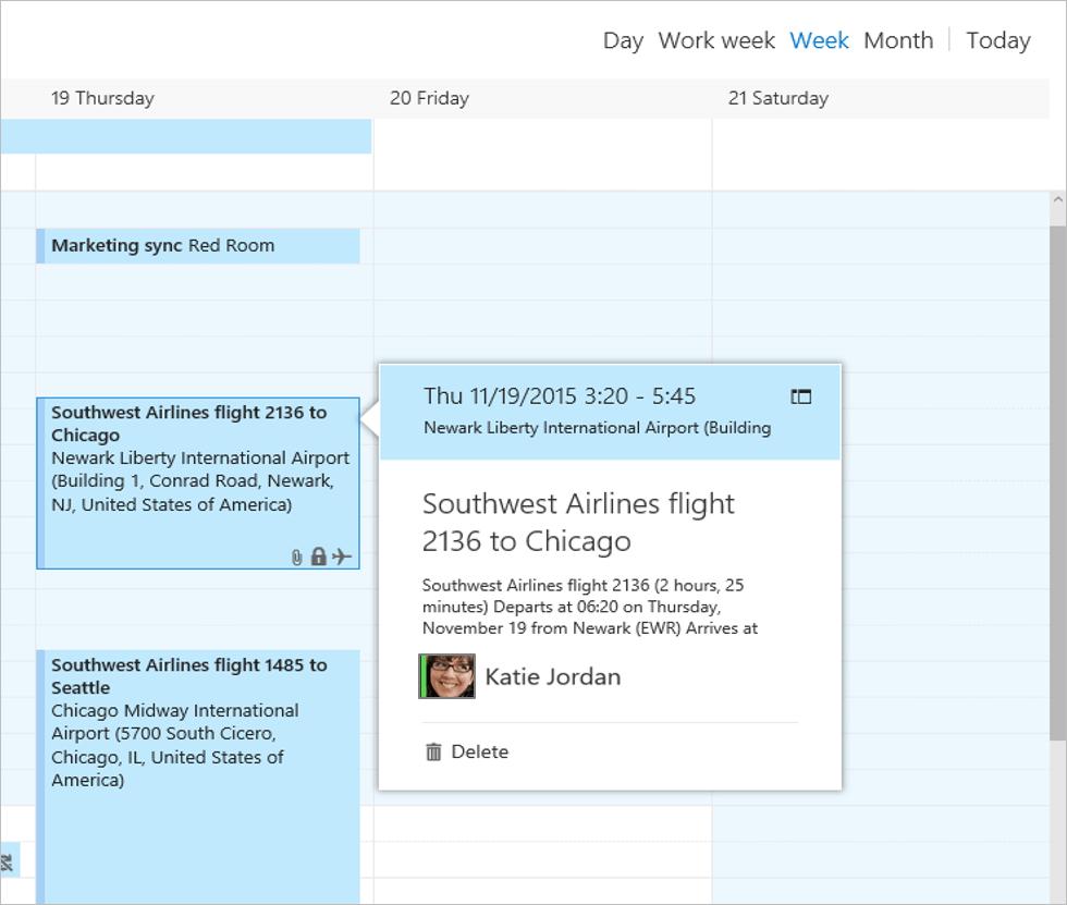 Сохранение авиаперелетов в Outlook.com