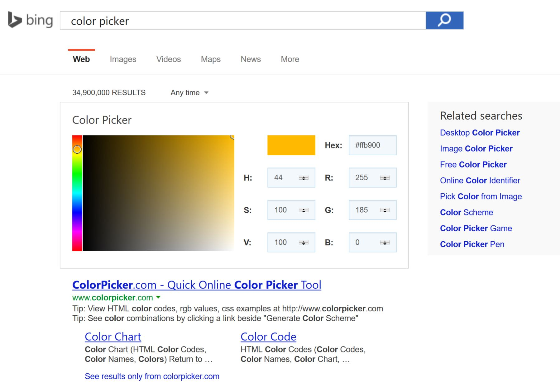 Game color chart - Bing Color Picker