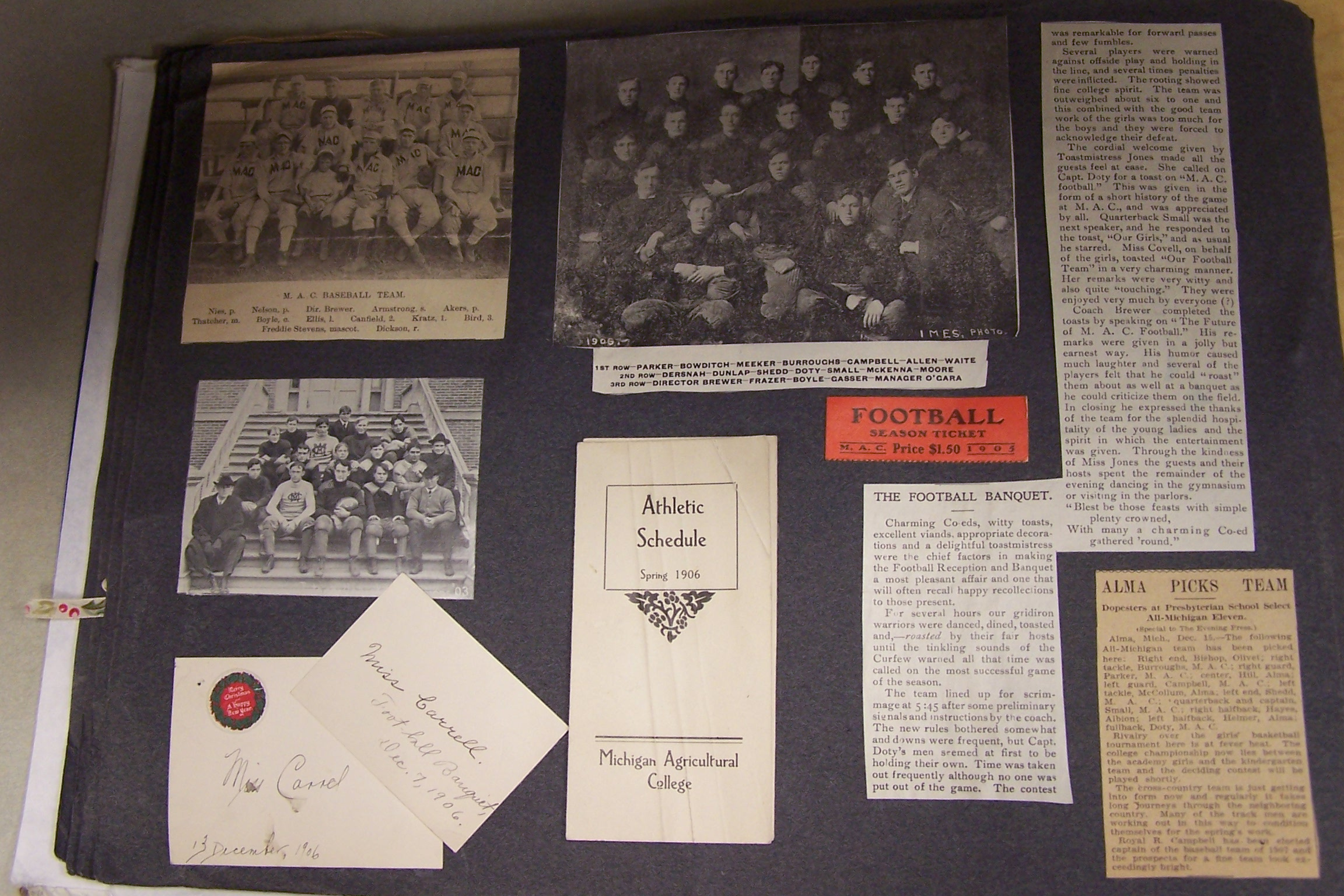 Scrapbook page of team photos newspaper clippings schedule 1905 1906